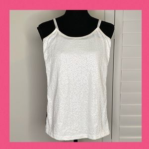 Rue 21 Sequin Covered White Cami Tank Sz S